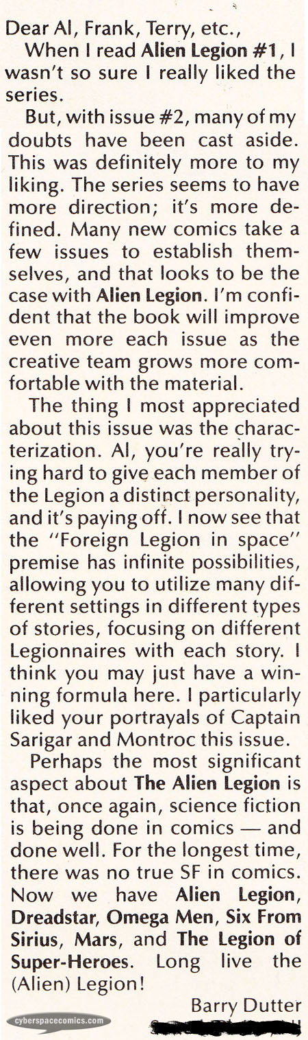 Marvels Comics: Alien Legion letters page with Barry Dutter