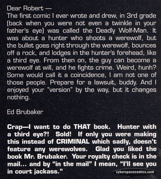 the Astounding Wolf-Man letters page with Ed Brubaker