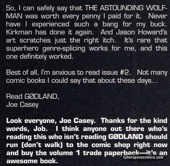 the Astounding Wolf-Man letters page with Joe Casey