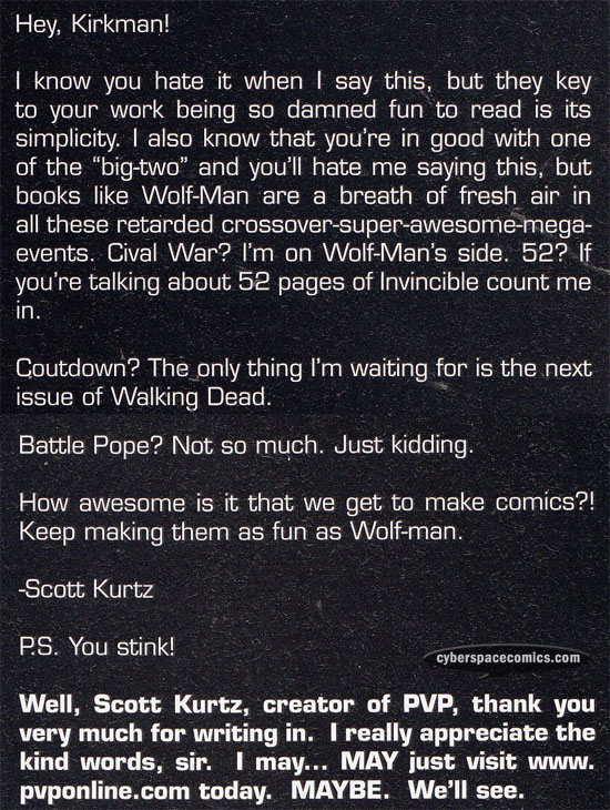 the Astounding Wolf-Man letters page with Scott Kurtz