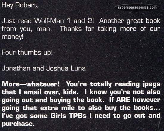 the Astounding Wolf-Man letters page with the Luna Brothers
