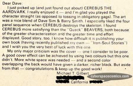 Cerebus the Aardvark letters page with Michael T. Gilbert