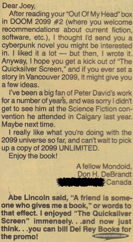 Doom 2099 letters page with Don H. DeBrandt