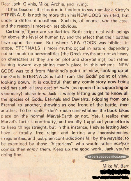 Eternals letters page with Mike W. Barr