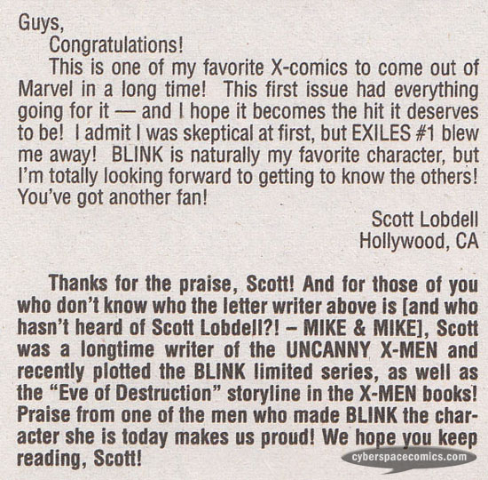 Exiles letters page with Scott Lobdell