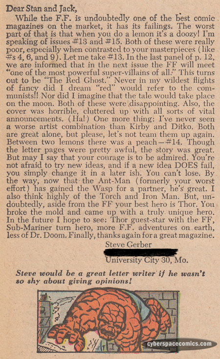 Fantastic Four letters page with Steve Gerber