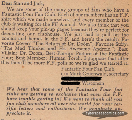 Fantastic Four letters page with Mark Gruenwald