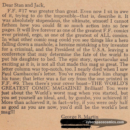 Fantastic Four letters page with George R.R. Martin