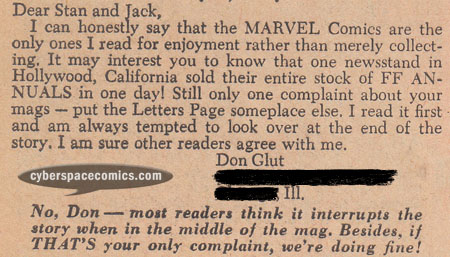 Fantastic Four letters page with Don Glut