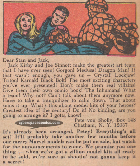 Fantastic Four letters page with Pete Von Sholly