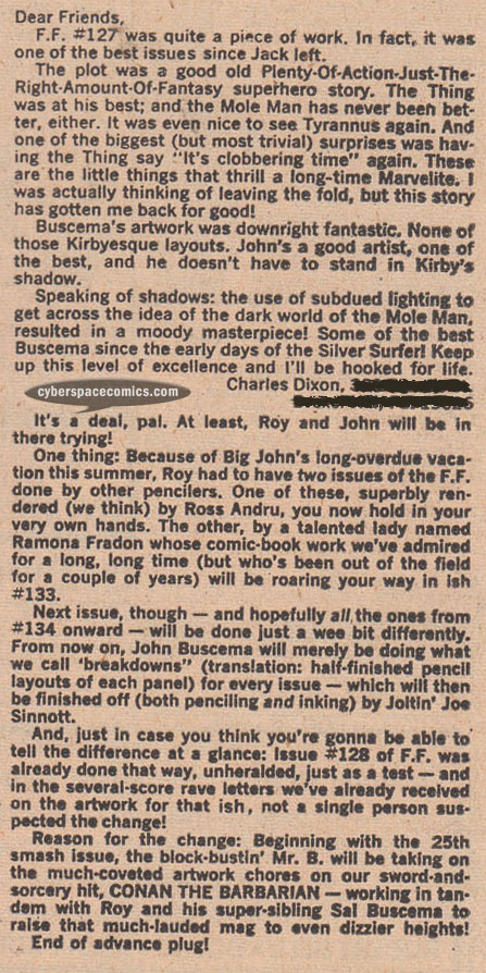 Fantastic Four letters page with Chuck Dixon