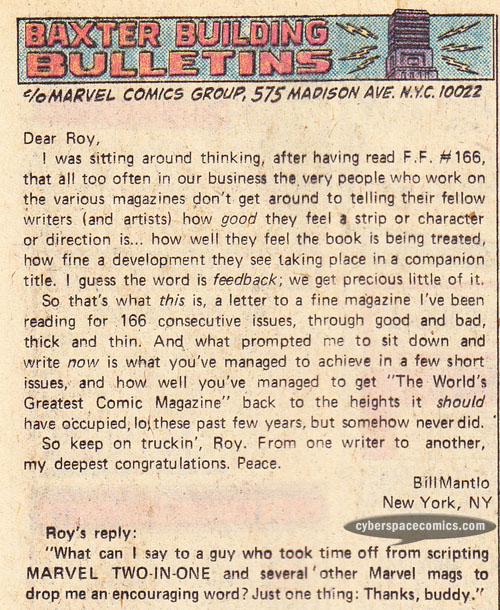 Fantastic Four letters page with Bill Mantlo