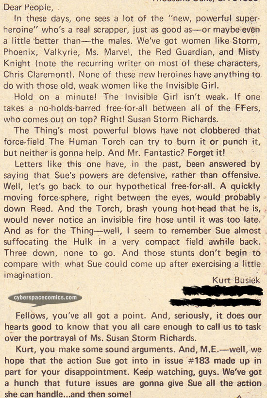 Fantastic Four letters page with Kurt Busiek