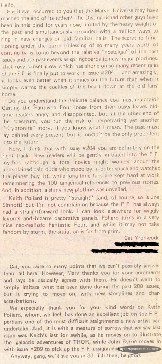 Fantastic Four letters page with Cat Yronwode