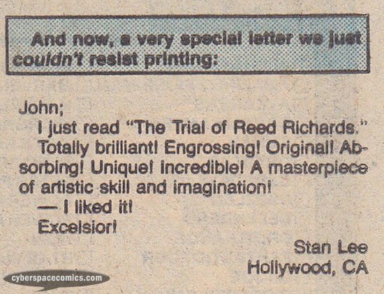 Fantastic Four letters page with Stan Lee