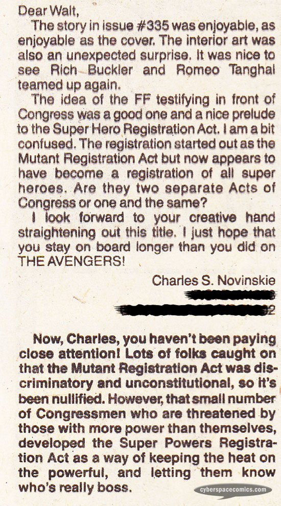 Fantastic Four letters page with Charles S. Novinskie