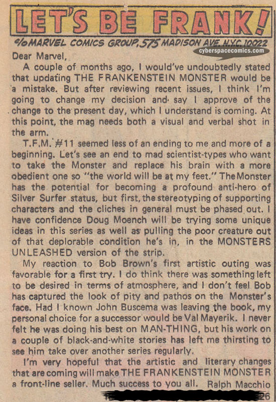 Frankenstein Monster letters page with Ralph Macchio