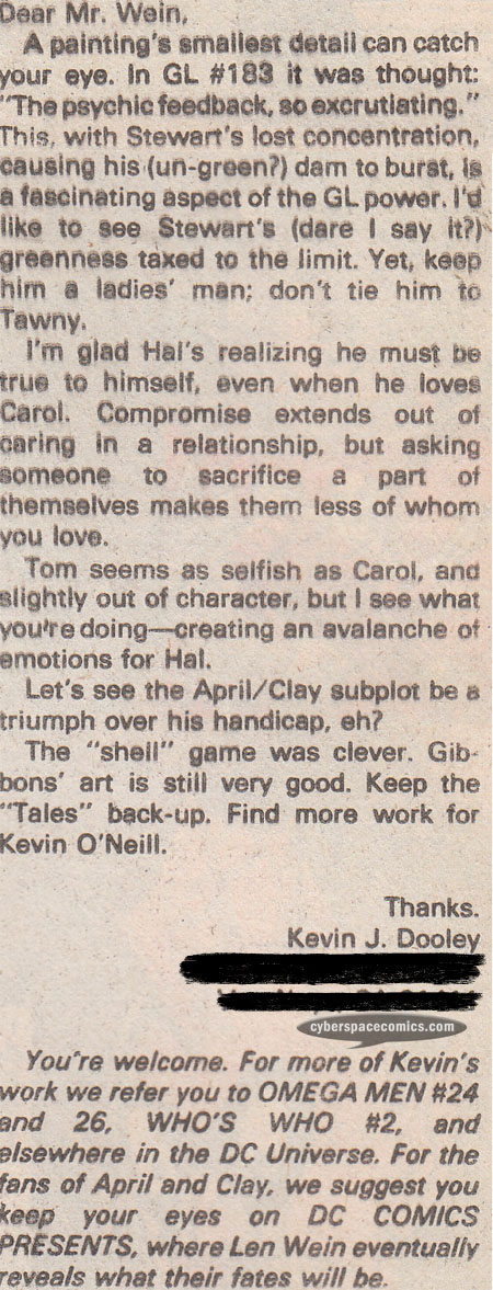 Green Lantern letters page with Kevin Dooley
