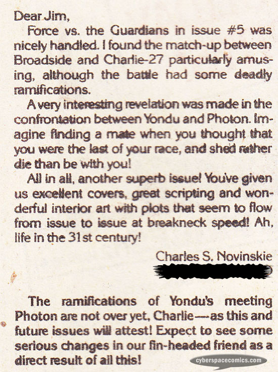 Guardians of the Galaxy letters page with Charles Novinskie