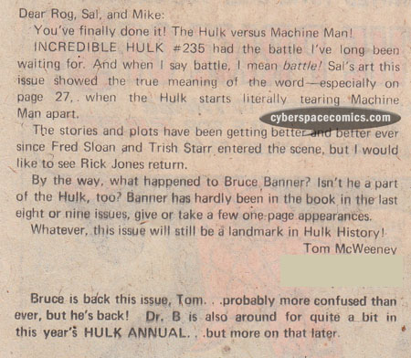 Incredible Hulk letters page with Tom McWeeney