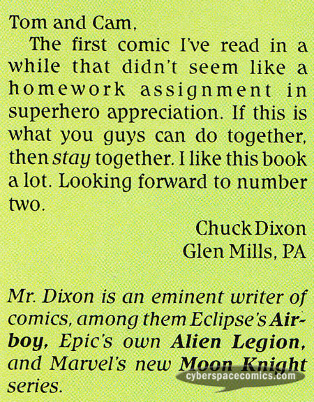Light and Darkness War letters page with Chuck Dixon