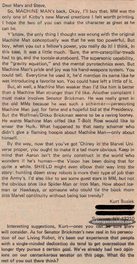 Machine Man letters page with Kurt Busiek
