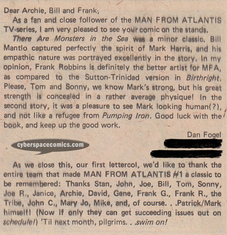 Man From Atlantis letters page with Dan Fogel