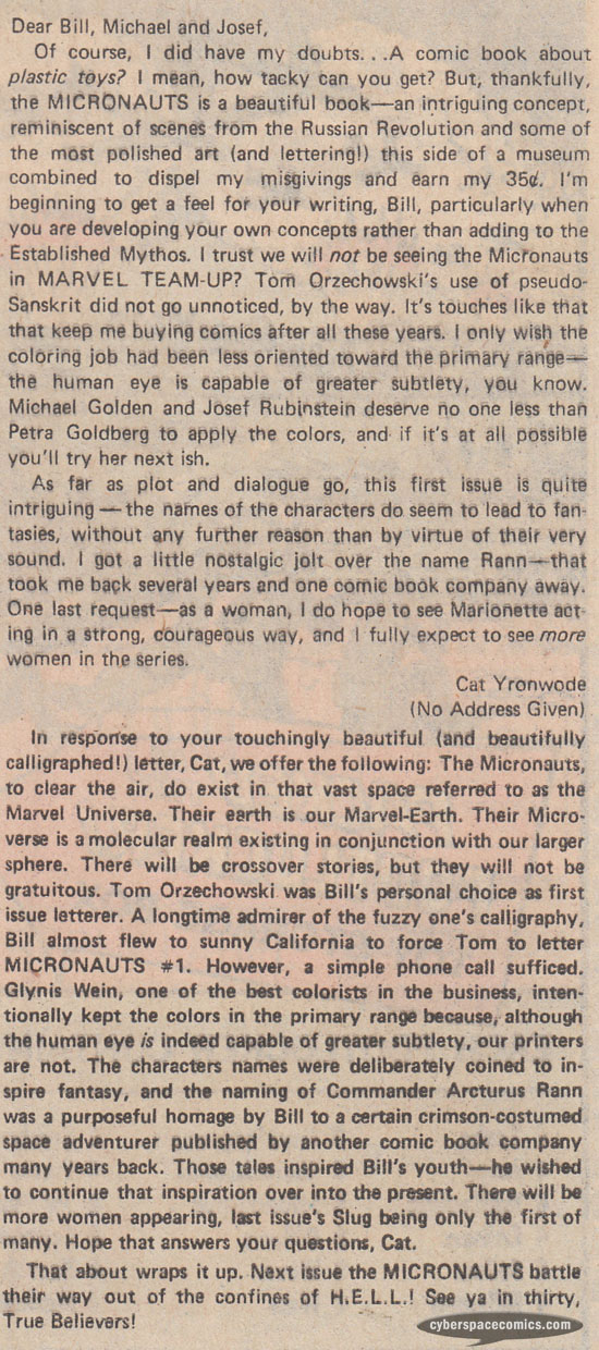 Micronauts letters page with Cat Yronwode