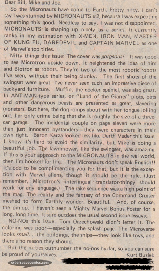 Micronauts letters page with Kurt Busiek
