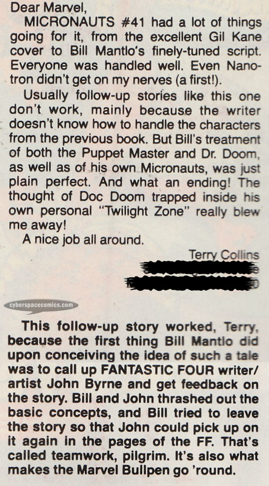 Micronauts letters page with Terry Collins