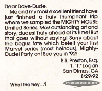 Mighty Mouse letters page with Bill & Ted
