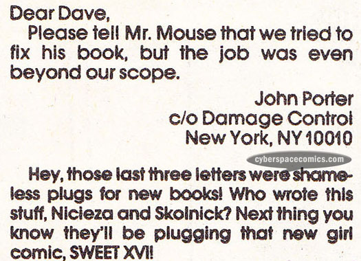 Mighty Mouse letters page with Damage Control