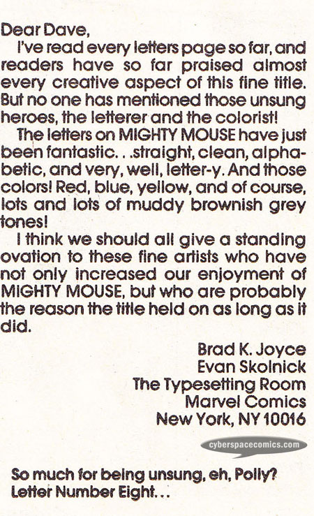 Mighty Mouse letters page with Evan Skolnick