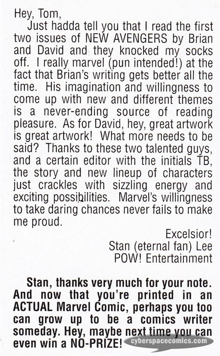New Avengers letters page with Stan Lee