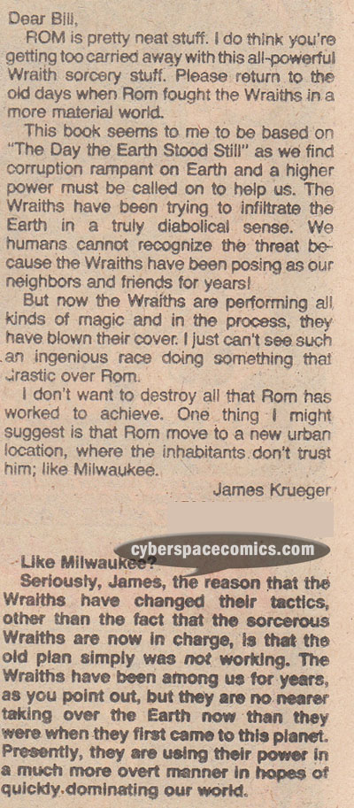 Rom letters page with Evan Dorkin
