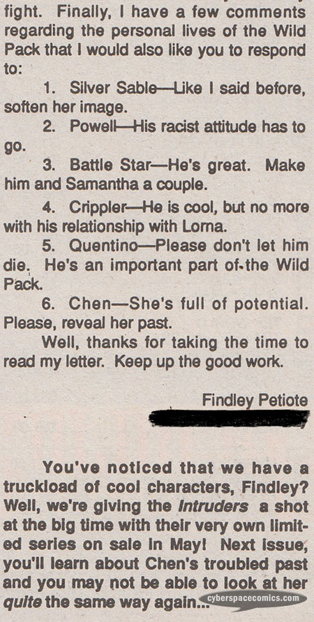 Silver Sable #20 Intruders letters page