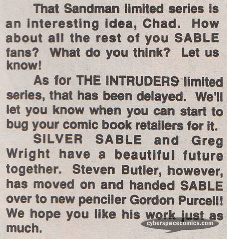 Silver Sable #27 Intruders letters page