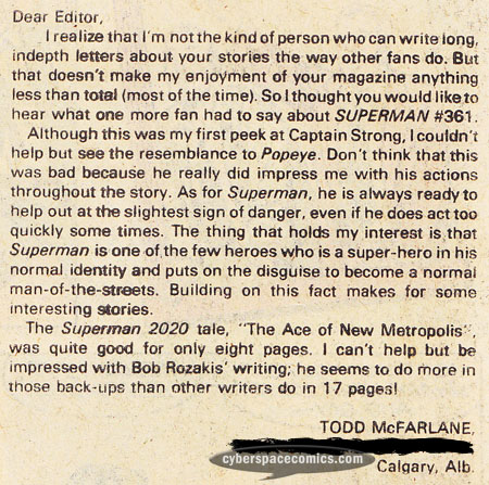 Superman letters page with Todd McFarlane