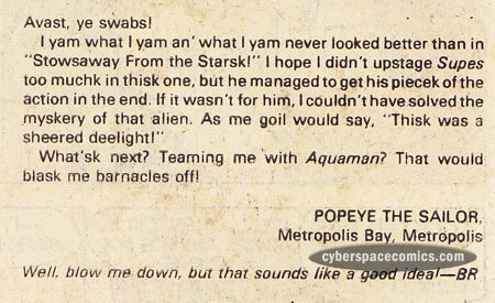 Superman letters page with Popeye the Sailor