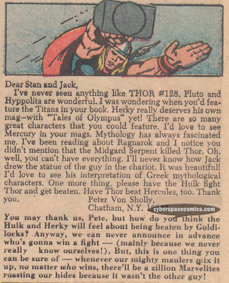 Thor letters page with Pete Von Sholly