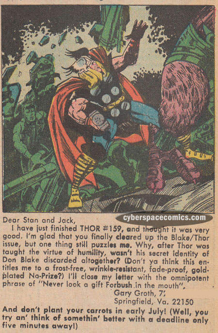 Thor letters page with Gary Groth