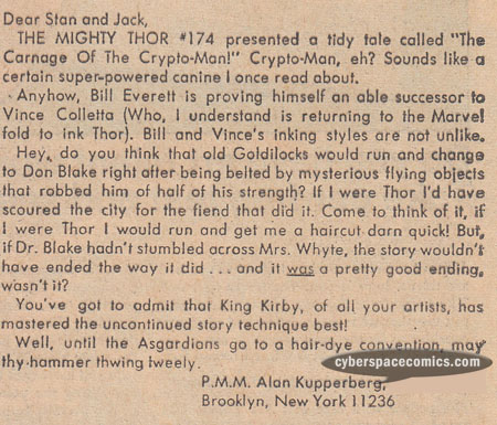 Thor letters page with Alan Kupperberg