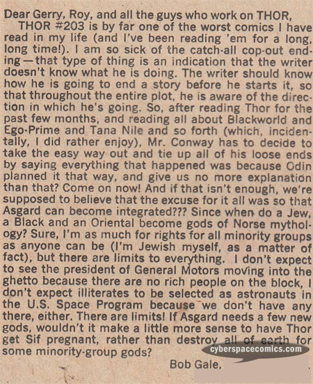 Thor letters page with Bob Gale