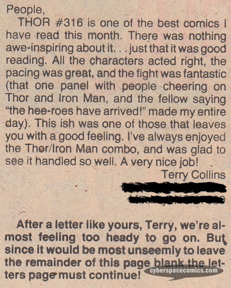 Thor letters page with Terry Collins