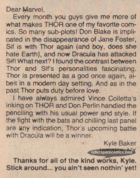 Thor letters page with Kyle Baker