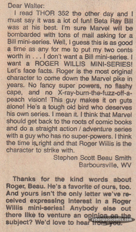 Thor letters page with Beau Smith