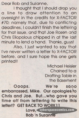 X-Factor letters page with Michael Heisler