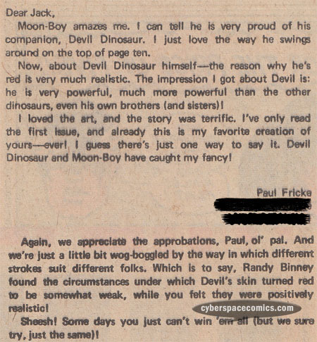 Devil Dinosaur letters page with Paul Fricke
